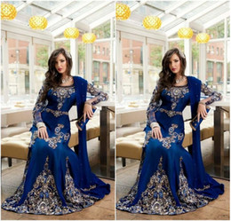 2017 Royal Blue Luxury Crystal Muslim Arabic Evening Dresses Applique Lace Abaya Dubai Kaftan Long Plus Size Formal Celebrity Gowns