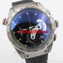 Regarder bracelet en caoutchouc noir en Ligne-Nouveau Mens Watch Calibre RS 36 Quartz Mouvement Chronographe Acier inoxydable Noir Caoutchouc Strap AAA Qualité.