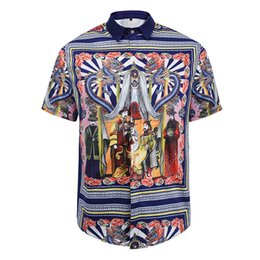new fashion Wave Of Men Floral Print Colour Mixture Luxury Casual Harajuku Shirts Short sleeve Men's Medusa Shirts
