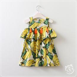 Wholesale Summer Kids Girls Tassel Dresses Baby Girl Print Banana Dress Girl Fashion Off shoulder Dress Babies clothing