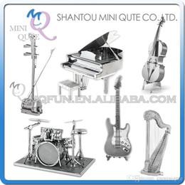 Wholesale DHL Piece Fun D musical instrument Guitar harp erhu Drum Set Piano Bass FiddleI Metal Puzzle adult models educational toy