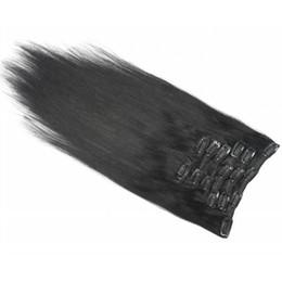 Descuento extensión del pelo humano clip de la cabeza llena Clip lleno de la cabeza del precio más barato en el clip de pelo recto sedoso de las extensiones del pelo humano 7 PC / clip de pelo malayo recto de la porción en extensiones