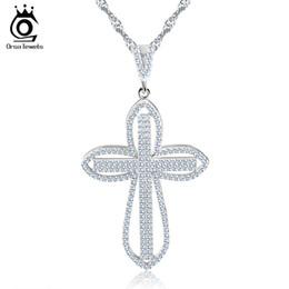 Acheter en ligne Croix d'argent-2016 Nouvel Arrivage Luxe AAA CZ pavé croix Pendentif argent plaqué Charmant collier pour le cadeau de la fille Mode Bijoux femmes ON118