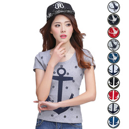 Wholesale Popular sale All Seasons t shirt women navy style anchors printing sleeveless o neck tee plus size blusas femininas NVTX07 R3