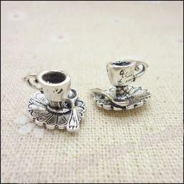 Wholesale Vintage Charms Coffee Mug Pendant Antique silver Fit Bracelets Necklace DIY Metal Jewelry Making