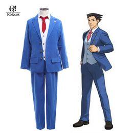 Rolecos Anime Japonaise Ace Attorney Phoenix Wright Naruhodo Ryuichi Naruhodou Ryuuichi Gyakuten Saiban Costume Cosplay à partir de ace attorney fabricateur