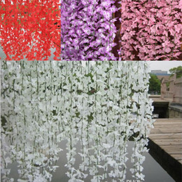 White Red Pink Purple Yellow Artificial Cherry Blossom Silk Flower Vine Wall Hanging Wisteria For Home and Wedding Decorations