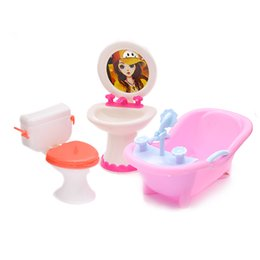 Wholesale Doll Furniture Toy Toilet Bathtub Bath Bathing Bowl Toilet Can Flip Wash Basin Sink Bathroom Doll Accessories For Doll Kids Toy