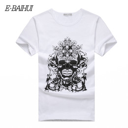 E-BAIHUI Brand new summer style Cotton men Clothing Male skull t shirt Man T-shirts Casual T-Shirts Swag mens tops tees T001