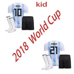 Argentina kids 2018 World Cup national team Soccer suit Home DYBALA soccer Shirt Messi Aguero Di Maria Child football uniform BOYS