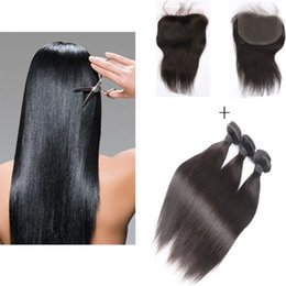 Fashion Brazilian Virgin Hair 3 Bundles 50g pc Natural Color Straight Human Hair Weft With 1 piece 4*4 Lace Frontal Closure Free Shipping