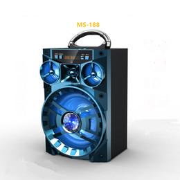 Boîte de haut-parleur de radio à vendre-Big Sound Haut-parleur HiFi Haut-parleurs portables Bluetooth Haut-parleur sans fil subwoofer Outdoor Music Box MS188 BT avec USB LED TF FM Radio