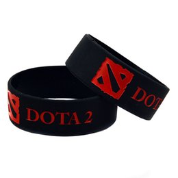Wholesale 50PCS Lot 1'' Wide Band DOTA 2 Silicone Wristband, Perfect To Use In Any Benefits Gift For Gamer