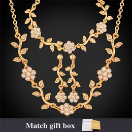U7 Luxury Leaf Clear Austrian Rhinestone Necklace Bracelets Earrings Set Gold Platinum Plated Fashion Women Jewelry Set Perfect Gifts H5175