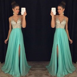 Wholesale Sexy Deep V Neck Prom Dresses Sleeveless With Beads Crystal A Line Long Chiffon Formal Evening Party Gowns