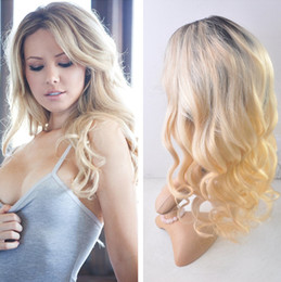 Ombre Blonde 1B 613 Body wave Virgin Human Hair Lace Frontal Wig With Baby Hair Dark Root 1B 613 Glueless Full Lace Wig