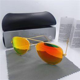 Descuento espejo de cristal clásico Gafas de sol de la manera para la lente de cristal clásica de las mujeres de los hombres Vidrio retro de Sunwear de la lente de la alta calidad de los vidrios retros de la vendimia de la marca de fábrica UV400 con todo el caso