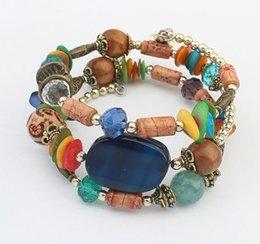Fashion Summer Beach Jewelry Pour Woma Bohemian mix Perles de verre Perles en bois Bracelet fait à la main Perles multicouches Strands bracelets handmade wooden bracelets promotion à partir de bracelets en bois faits à la main fournisseurs