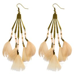 Wholesale idealway Colors Bohemian Antique Bronze Resin Beaded Feather Tassel Dangle Long Earrings For Women Jewelry