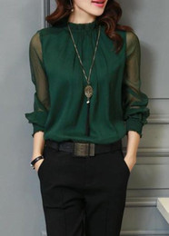 Free Shipping Lantern Sleeve Deep Green Chiffon Blouse Four Kinds Of Colors Seven Different Sizes Can Be Chose
