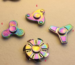 Rainbow Aluminum Alloy Hand Spinner Fingertips Spiral Fingers Gyro Torqbar Fidget Spinner Decompression Toy With Retail Box