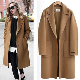Argentina Camel Black US 2017 Otoño / Invierno Mujeres Recortada solapa Botón Simple Largo Abrigo ZA estilo Carrera Sobretodo manteau femme casaco feminino single button black coats on sale Suministro