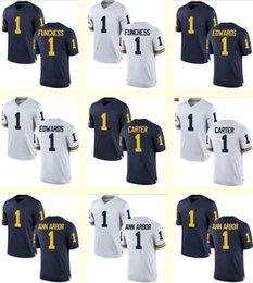 Wholesale Men s Funchess Edwards Carter Ann Arbor Michigan State Navy Blue White NCAA Personalized Customized jerseys jerseys Cheap