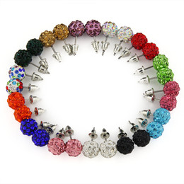 14 Colors  1 lot 8MM Shamballa Brand Earrings Micro Disco Ball Shamballa Crystal Stud Earring For Women Fashion Jewelry