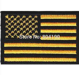 Wholesale 3 quot AMERICAN FLAG YELLOW BLACK BORDER Shoulder IRON ON PATCH USA US UNITED STATES UNIFORM MILSPEC DARK OPS SWAT