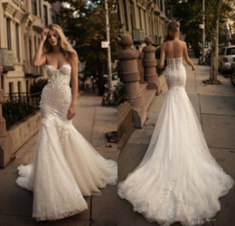 Berta 2017 Gorgeous Mermaid Wedding Dresses Beaded Sash Vintage Lace Wedding Dress Backless Plus Size Beach Bridal Gowns