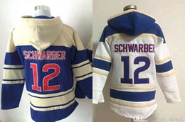 Factory Outlet Mens 12 Kyle Schwarber Chicago Sportswear 12 Schwarber White Blue Cheap Full Embroidery Logo Hot Sale Baseball Hoodies