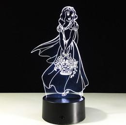 regalo para nia nio lindo blanco nieve en forma de luz de la noche colores chnage bedside acrlico lmpara de escritorio de la escultura