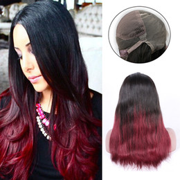 Best Quality Silky Straight Ombre Color T1B Red Wine Remy Brazilian Hair Full Lace Human Hair Wigs for Black Women Hand Tied