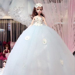 The large size Diamond Princess Doll 52cm Valentine's Day doll for lover multi-layer gauze Wedding doll Home Furnishing ornaments