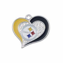 Wholesale Fashion Jewelry Charms Newest teams logo Steelers Cowboys Cardinals teams enamel twirl heart football charms
