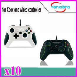 Blanco xbox palanca de mando en Línea-Palanca de mando de Gamepad del color de la alta calidad 10pcs + cable para Windows Xbox un USB ató con alambre el regulador YX-OEN-03