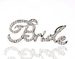 Rhodium Silver Plated Clear Rhinestone Diamante Cursive Bride Bridal Brooch