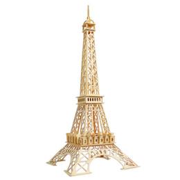 MICHLEY 1pc 3D Wooden Construction Jigsw Puzzle Kid Educational Woodcraft DIY Kit Toy Simulation Models Eiffel Tower 1T0044-muzhitieta