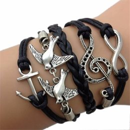 Wholesale JU Fairy Store HOt Selling Antique Silver Infinity Double Birds Note Charms Leather Wrap Bracelet