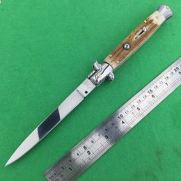 Italy AKC 11 inch antler handle flat blade single action pocket knife automatic knives knife camping knife 1pcs freeshipping