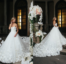 Romantic Speranza Couture Wedding Dresses 2017 Sweetheart Full Appliqued Floral Flowers Cathedral Train Bridal Dress Custom Made Bridal Gown