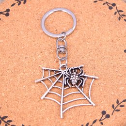 New Fashion spider cobweb Keychains Antique Silver plated Keyholder fashion Solid Pendant Keyring gift