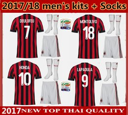 10 set FREE DHL 2017 men kits + Socks soccer Jersey Top quality 17 18 AC milan JerseyS MENEZ BONAVENTURA BACCA BERTOLACCI football shirts