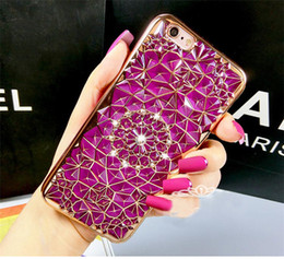Wholesale Luxury Diamond Sun Flower Plating Plate Strass Capa Tpu Phone Cover Case For iPhone 5 6 6S 7 Plus
