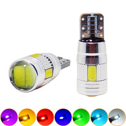 LEEWA 2pcs Power T10 W5W 194 168 6SMD 5630 LED Canbus Error Free Car LED Light Bulb With Lens #1255