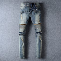 Wholesale Balmain Jeans For Men Straight Leg Knee Drape Panel Moto Biker Jeans Skinny Slim Stretch Denim