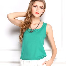 Fashion women tops 13 candy colors summer Tanks sleeveless nice lady blouse chiffon clothes round neck loose design