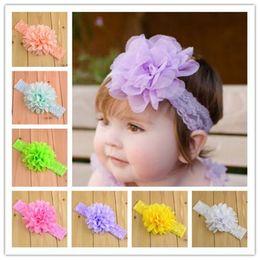 "Infant Lace Headbands 18 Colors Baby Girls 4"" Chiffon Flower for Headband Childrens Hair Accessories Kid Elastic Hairbands Babies Headwear"