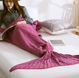 Размеры одеяло Онлайн-Дети размер хвост русалки одеяло шерсть вязаный хвост рыбы одеяло бросить кровать Wrap супер мягкий спальный мешок 70x140cm DHL свободный