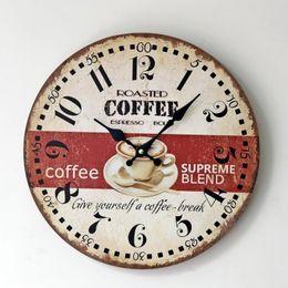 Wholesale Hot Sale Duvar Saati Watch Zakka Home Coffee Wood Office Frameless Round Wall Clock Fashion Ornaments For Decoration